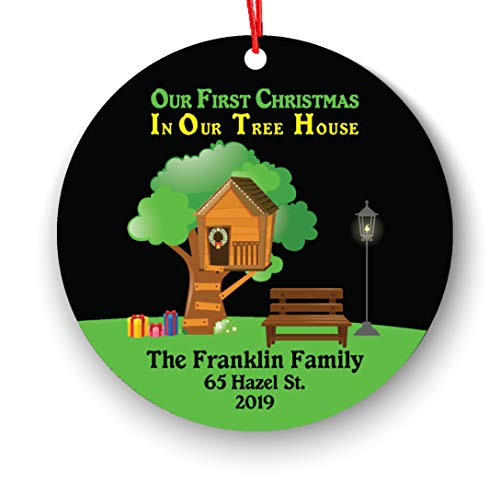 Personalized First Christmas Our New Tree House Ornament, First Christmas in Our Tree House 2018, Personalized Tree House Ornament - 2018 Our First Christmas in Our New Home Christmas Ornament