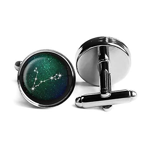 Zodiac Symbol Astrology Pisces Star Constellation Tierkreis Astrologie Fische Rhodium Silber Manschettenknöpfe