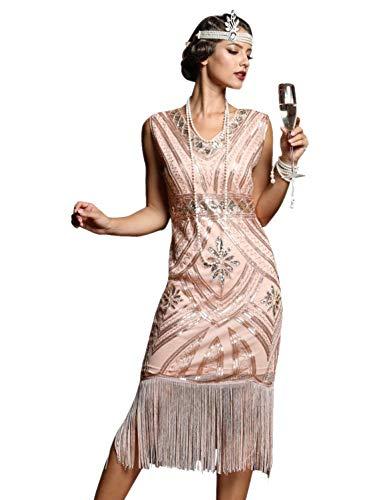 PrettyGuide Women's 1920s Flapper Dress Glam Sequin Inspired Beaded Cocktail Dress XL Rose Gold