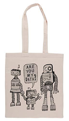 Luxogo My Data Robot Kid Bolsa De Compras Groceries Beige Shopping Bag