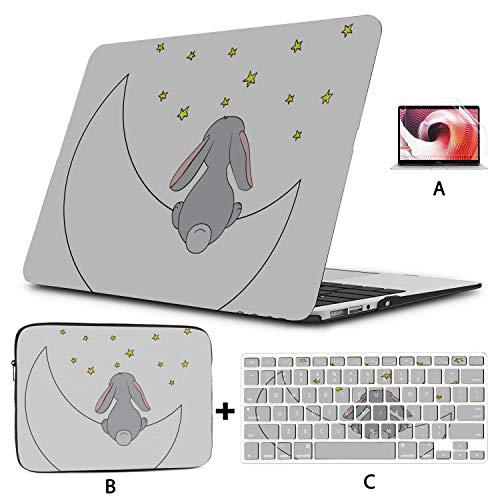 MacBook Air A1466 Case Cute Sleeping Bunny and Moon 15 Inch MacBook Case Hard Shell Mac Air 11'/13' Pro 13'/15'/16' with Notebook Sleeve Bag for MacBook 2008-2020 Version