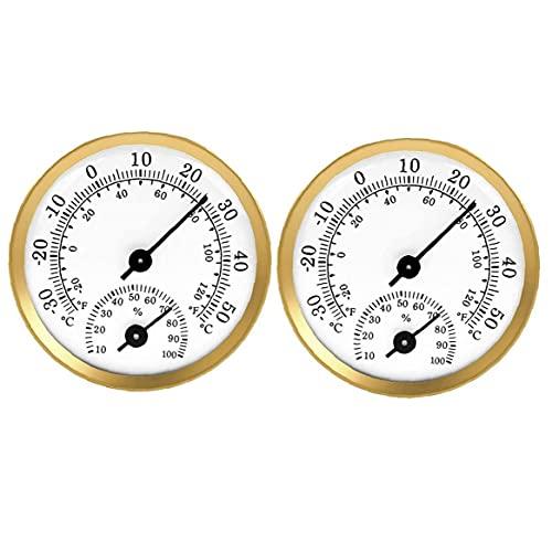 Termómetro Higrómetro Puntero Temperatura Temperatura Humedad Medidor para el Coche Invernadero 2pcs Oro