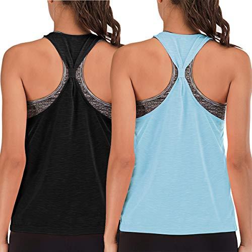 Integrierter BH, Workout-Tank-Top, für Damen, Racerback, Yoga, Sportshirt, lockere Passform - Schwarz - small