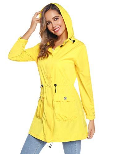 Akalnny Impermeabile Donna Pioggia Giacca e Cappotti con Cappuccio Cerniera per Campeggio Pesca Manica Lunga Cappotto Giallo