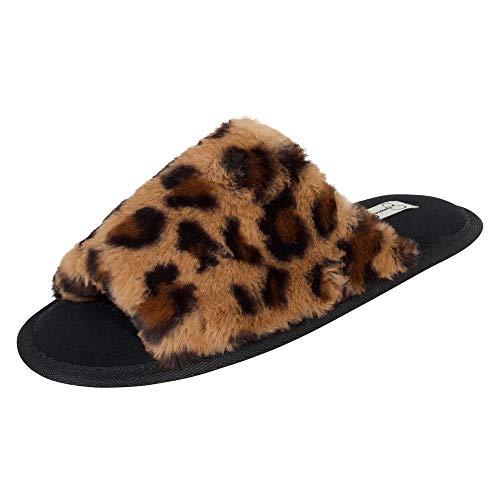 Jessica Simpson womens Plush Faux Fur Fuzzy Slide on Open Toe With Memory Foam Slipper, Leopard, Large US