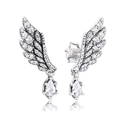 FUNSHOPP Pendientes de tuerca de plata 925 con alas de ángel de invierno para mujer, se adapta a pulseras Pandora originales