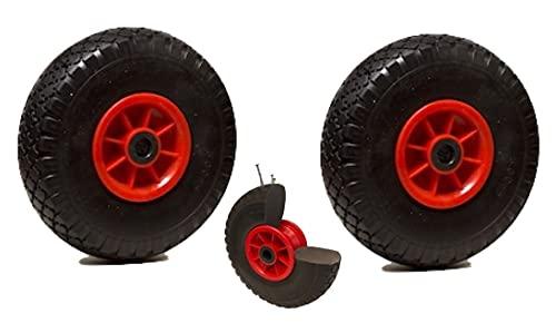 LOT de 2 roues diables increvables 260 x 85 alésage 20 mm (3.00-4) à rouleaux charge 150 Kg