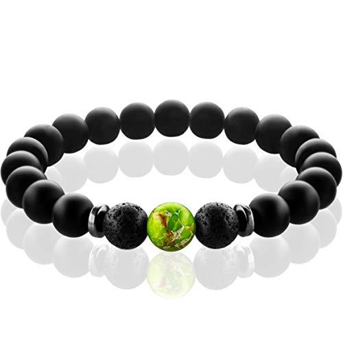 FABACH Spirituals™ Chakra Perlenarmband mit 8mm Imperial-Perle, Lavastein und Onyx-Naturstein (schwarz) - Yoga Armband aus 21 Heilsteinen - Energiearmband für Damen und Herren