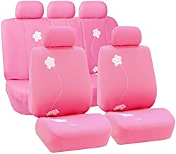 FH Group - FB053PINK115 Universal Fit Full Set Floral Embroidery Design Car Seat Cover, (Pink) (FH-FB053115, Airbag compatible and Split Bench, Fit Most Car, Truck, Suv, or Van)