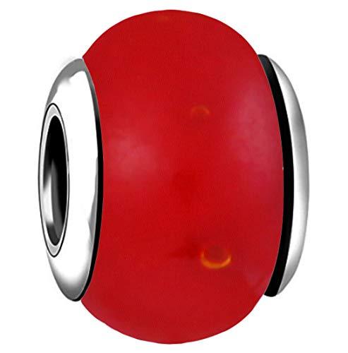 AKKi jewelry Charms Murano Glas Anhänger für Armband Kette in Edelstahl Zirkonia Silber Karma,Pandora kompatibel Rot