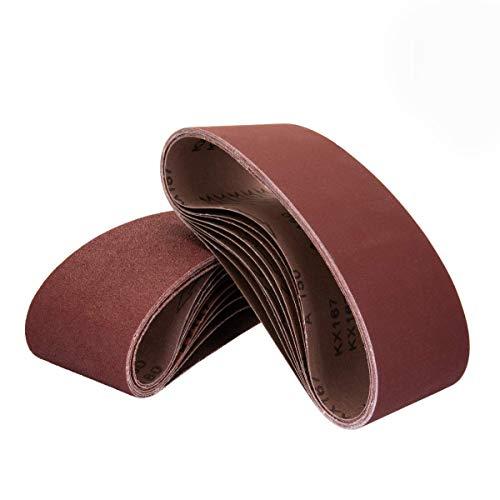 "POWERTEC 110450 3 x 21"" Sanding Belts | 120 Grit Aluminum Oxide Sanding Belt | Premium Sandpaper For Portable Belt Sander – 10 Pack"