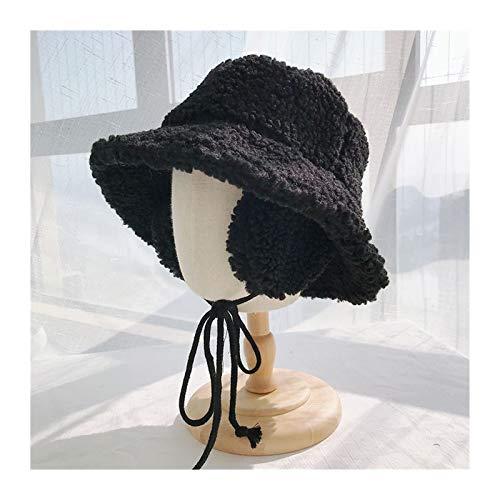 RHBLHQ Gorros de Pescador Sombrero De Mujeres Sólido Piel Sintética Cálido Invierno Cubeta Sombrero Mujer Al Aire Libre Caballo Oído Sombrero