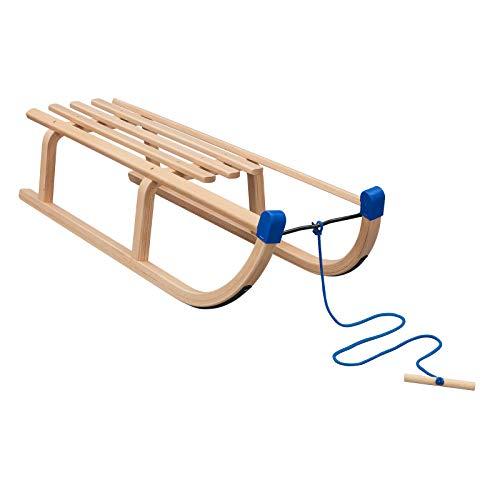 Vispronet Davos Schlitten, Tragfähigkeit 90 kg, inkl. Zugseil, Holzschlitten für Kinder & Erwachsene, Schlitten-Größe 100 x 34 x 24 cm