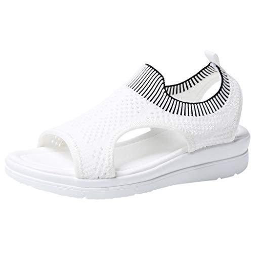 TUDUZ Sandalias De Mujer Verano La Comodidad Transpirable Ahueca hacia Fuera Las Cuñas Casuales Los Zapatos De Tela Sandalias (Blanco.e, 36)