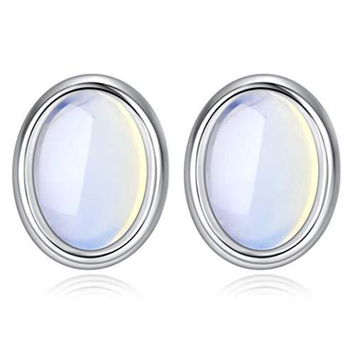 Addfect Damen Ohrstecker Oval Silber 925 Ohrstecker mit Weiß Mondstein Mädchen Einfach Ohrringe Allergiefrei Ohrschmuck für Frauen