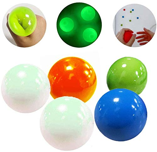 5 pcs Glow Stress Relief Balls Sticky Ball, Stick to The Wall and Slowly Fall Off, Glow Stress Relief Toys for Kids and Adults Tear-Resistant, Non-Toxic, Fun Toy for ADHD, OCD, Anxiety