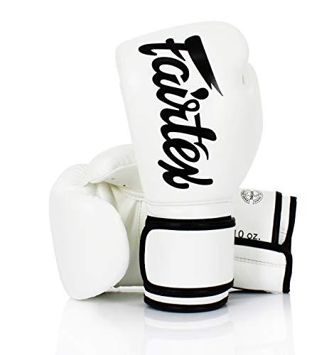 Fairtex BGV-14 Guantoni da Boxe Bianchi- Muay Thai Kickboxing MMA Training Boxing Equipment Gear for Martial Art (14oz)