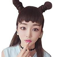 HongJie Hou ワンピースのシームレスな毛延長ファッション犬前髪現実的なかつら前髪 (Color : Deep maroon 13CM)