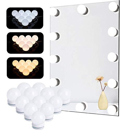 Lumière de Miroir, Natseekgo 12 Ampoules Hollywood Kit de Lumière LED Dimmable Lampe pour Miroir Cosmétique Salle de Bain 3 Couleurs 10 Niveaux de Luminosité avec Adaptateur (Miroir Non Inclus)
