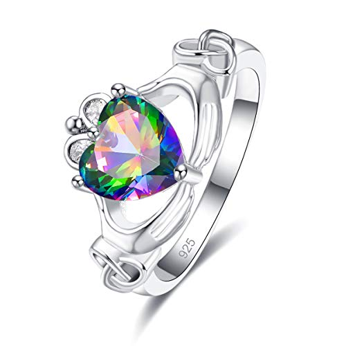 Emsione 925 Sterling Silver Plated Created Rainbow Topaz Heart Cut CZ Claddagh Celtic Ring Eternity Anniversary Wedding Engagement Band Ring Size 9