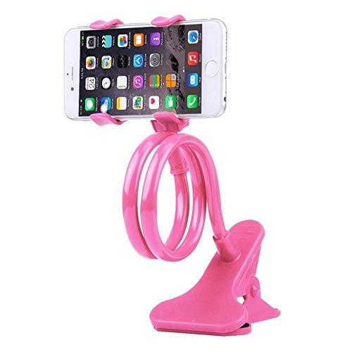 Soporte para teléfono móvil, soporte para teléfono móvil, soporte flexible de dos abrazaderas, soporte para teléfono móvil, soporte para teléfono móvil, soporte de teléfono (color: L rosa)