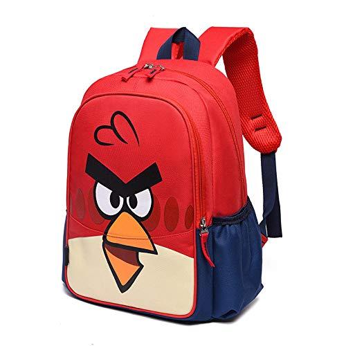 2021 Mochila de Primavera Mochila Escolar para niños Escuela Primaria Colegio Dibujos Animados Anime Nylon Cremallera Mochila Escolar-Angry Birds Rojo