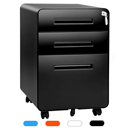 INTERGREAT Black 3-Drawer Filing Cabinet with Wheels Metal Locking File Cabinet with Hanging Frame Rolling File Cabinet for Legal/Letter Size,Pre-Assembled, Steel