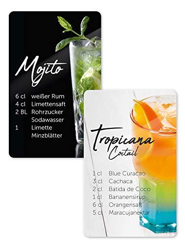Kühlschrankmagnete 2er Set Cocktail Rezepte Mojito, Tropicana, Magnete für Kühlschrank, Kühlschrankdekoration im Geschenkset