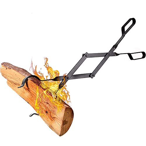 Amagabeli Pince à bois cheminée 66cm avec poignées À toute épreuve Pinces à feu pour Intérieur Poêle à bois Fer forgé Pinces À Bois De plein air Pince à bûches de bois pour Feu de camp Foyer Outils