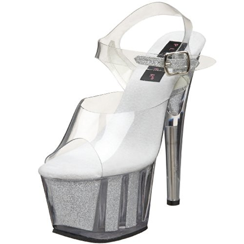 Pleaser Women's Adore 708G Ankle-Strap Platform Sandal,Clear/Silver Glitter,12 M US
