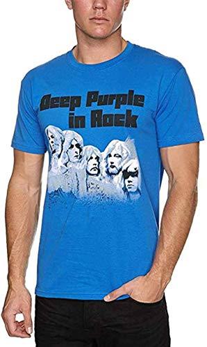 Deep Purple in Rock Camiseta de manga corta básica de algodón con cuello redondo para hombre y juventud
