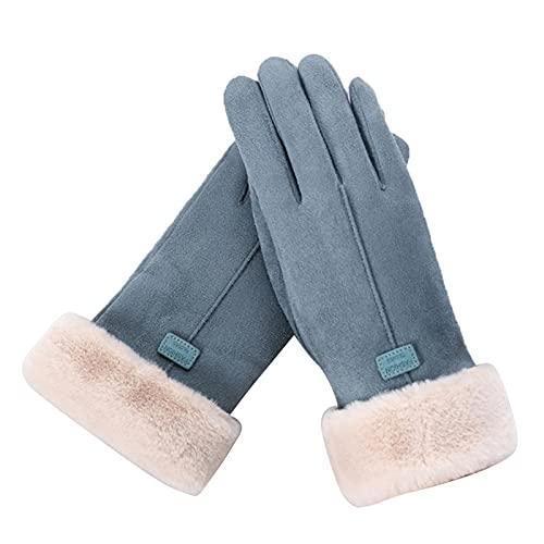 Guantes de Encaje Nuevo Invierno Mujer Encaje cálido Cachemira Tres Costillas Lindo Oso Mitones Doble Gruesa Pulsera muñeca Mujer Pantalla táctil conducción (Color : 6, Gloves Size : One Size)
