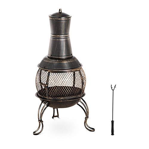 Uniprodo Uni_G_Chimney_06 Terrassenofen aus Stahl 90 cm 360° Gartenkamin Gartenofen Ofen Garten Stahl