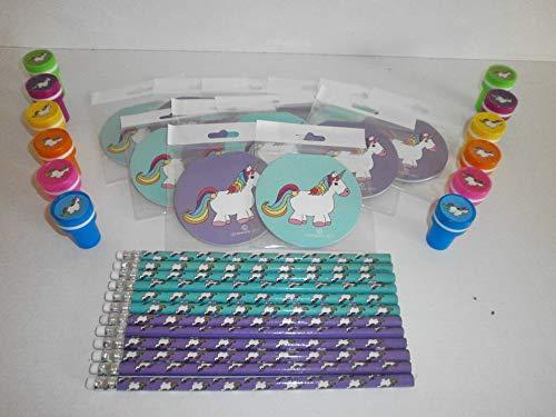Schnooridoo Einhorn Set 24 Teile Stempel - Bleistifte - Notizheft Unicorn Mitgebsel Kindergeburtstag