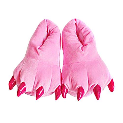 Happy Cherry - Niñas Zapatillas Para Casa Carnaval Halloween Cosplay de Garras Animales Zapatillas Franela Suaves Cálido Talla EU 28-34 - Rosa