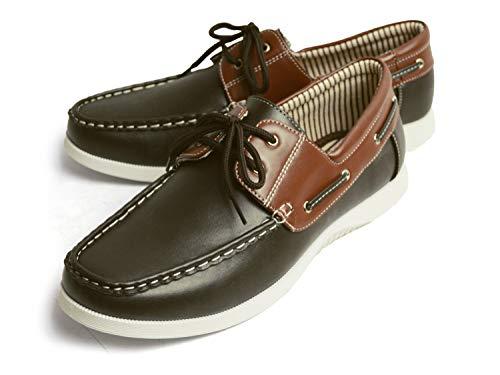 [ラプア カーマ] デッキシューズ ドライビングシューズ スニーカー 靴 メンズ カジュアルシューズ ローカット PUレザー スムース スウェット シューレース メンズシューズ 46(28cm) Brown/Dbrown