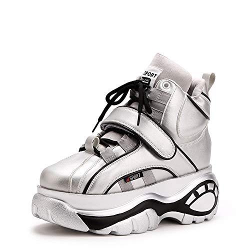 SHOES-HY dames vrijetijdsschoenen, lichte ademende sneakers met een hoge dikke bodem. Trekking-reisschoenen 35 EU zilver