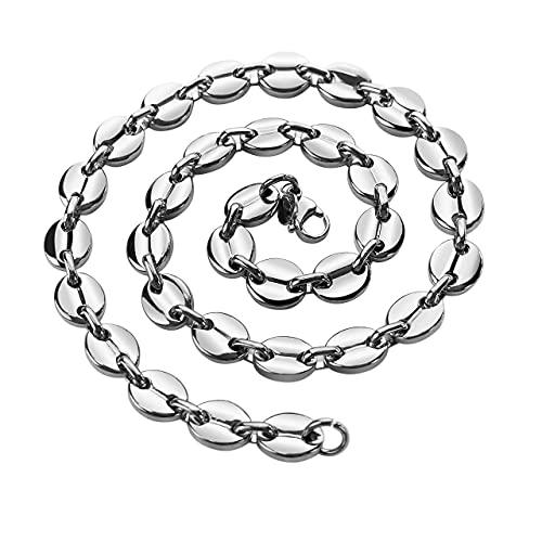 AURSTORE® Chaine pour homme acier inoxydable maille graine de café couleur au choix 11mm 56cm (argenté)