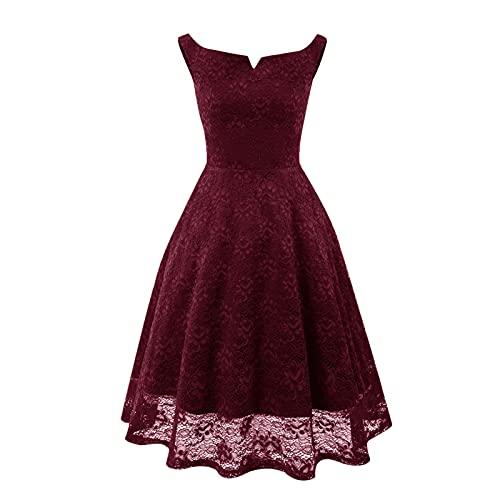 Robe femme élégante robe femme robe femme robe festive femme dentelle sans manches robe robe cocktail robe vintage robe de bal, Bordeaux, M