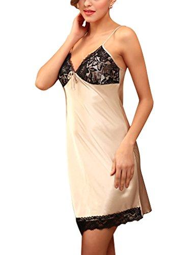 BININBOX Damen Sexy Elegant Nachthemd aus Seide Silk Nachtkleid Nachtwäsche mit Spagetti-Trägern Sexy Negligee in 3 Farben (Deutsche Gr.S/Hersteller Gr.M, Kamel)