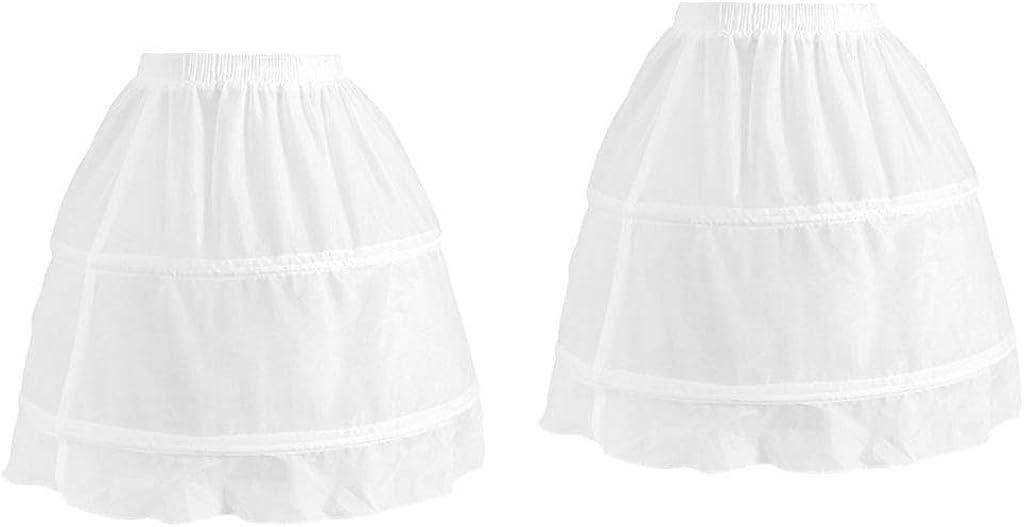 shamjina 2pack Kids Girls 2 Hoop Petticoat Wedding Flower Girl Elastic Chiffon Underskirt