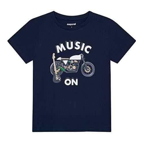 Mayoral - Camiseta de verano para niño, de manga corta, reflectante, Music on Moto, color azul oscuro - 3,049 azul oscuro 116 cm