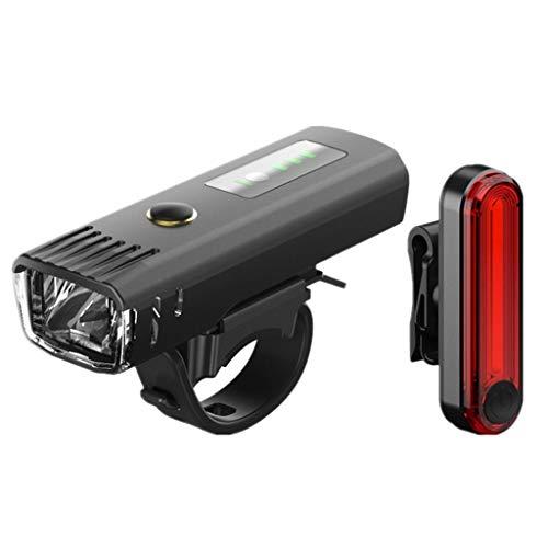 Outdoor Fietslampjes Set LED, Waterdichte Road Auto Voorlicht En Achterlichten Met USB Opladen + Inductie Mode, Super Heldere Nachtfiets Apparatuur (zwart)