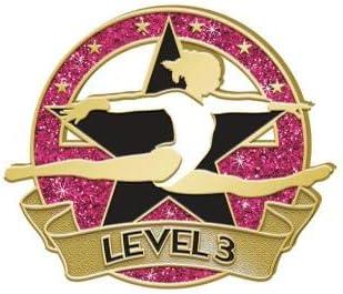 Crown Awards Level 3 Glitter Max 60% OFF Gymnastics Pink New sales Dark Gymnasti Pin -