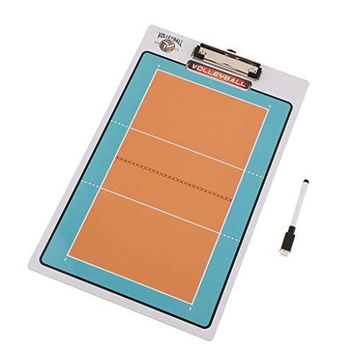 perfeclan Pizarra de Fútbol/Baloncesto/Voleibol Plegable para Entrenadores Tablero de Entrenamiento PVC Herramientas de Tablero de Borrado en Seco Accesorios - Voleibol, Tal como se Describe