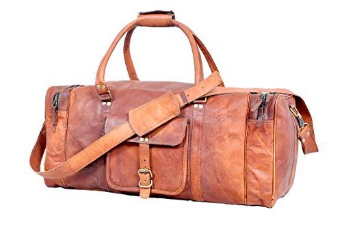 Urban Leder Bags Weekender Luggage XL Geräumige Leder Sporttasche Freizeittasche Damen Herren Vintage Braun 60 cm Große Reisetasche für Herren