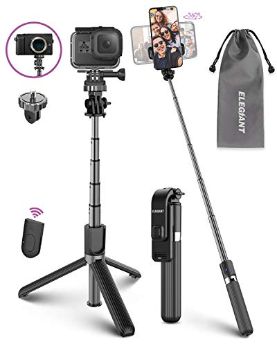 ELEGIANT Bastone Selfie Wireless, 3 in 1 Asta Selfie Stick Bluetooth con Treppiede per Camera Gopro 3,7-6,8 Pollici Cellulare iPhone 11 XS Max XR x 8s