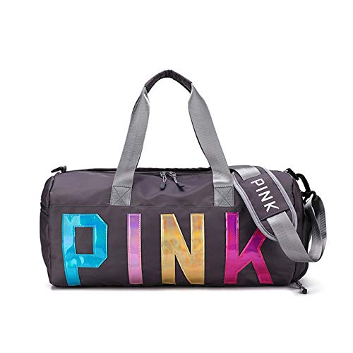 Pink Gym Duffle Bag for Couples, Large Durable Lightweight Shoulder Travel Bags with Shoe Compartment and Wet Pocket for Women, Men Swim Sports Duffels Grey