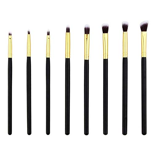 MEIYY Pinceau de maquillage Make Up 8Pcs Makeup Brush Set Eye Brush Shadow Eyeliner Eyebrow Eye Shadows Blush Brushes Gold Pincel