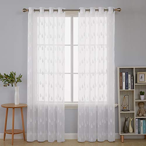 Deconovo, gordijnen, transparant, met borduurwerk, regendruppels, balkon, slaapkamer, 2-delige set